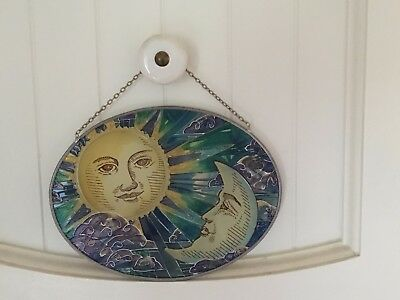 Beautiful Stained Glass Sun and Moon Window Hanging One-of-a-Kind