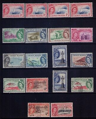 CAYMAN ISLANDS 1953-59 QEII Sc# 135-45;148 Used/mh,doubles,CV:$27.80
