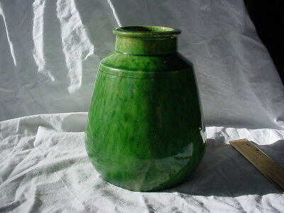 Awaji Green Mottled Art Pottery Vase Arts And Crafts Mission  Belgium
