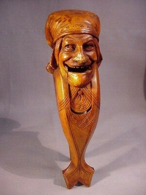 Wonderful Antique Signed Wood Carved Nutcracker of French Man