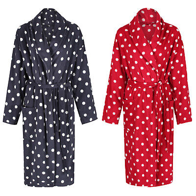 Marks & Spencer Womens Soft & Warm Fleece Spotted Dressing Gown New M&S Free P&P