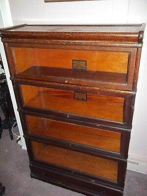 Antique 4/ Section Globe Wernicke Oak Barrister Bookcase W/ Top &  Drawer Base