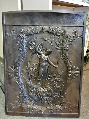 Vintage Cast Iron Art Nouveau Fireplace Cover Greek Goddess Hunter Late 1800's