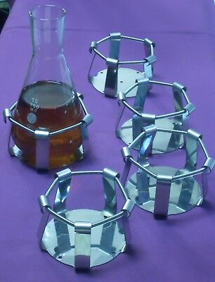 Lot 5 in 1 Erlenmeyer Flask 750 ml Shaker Clamps clips biotechnology lab orbital