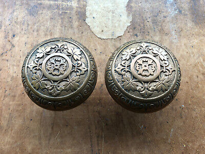 Beautiful Antique Victorian Eastlake Brass Door Knob Set Bronze
