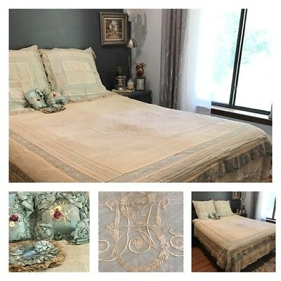Antique French Embroidered Tambour Ornate Net Lace Coverlet Bedspread  Set