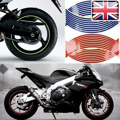 "Motorbike Car Reflective Wheel Rim Trim Tape Sticker 16""17""up to 18"" RED"