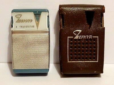 "Rare Vintage ""Zephyr"" 6 Transistor Pocket Radio & Original Case. Working. ""Ex.+"""