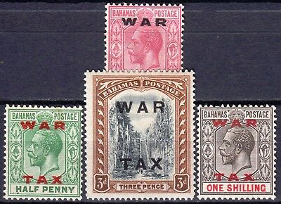 Bahamas 1919 War Tax, SG 102 - 105, Mint Hinged, CV £27