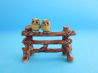NEW PAIR OF BABY OWL ON FENCE SO CUTE *Mint Condition*