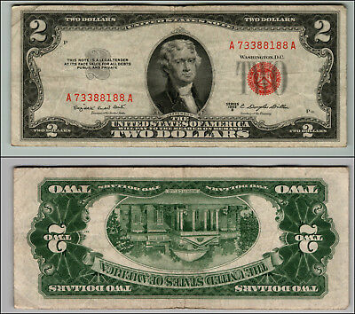 1953B $2 Dollar Bill Old Us Note Legal Tender Paper Money Currency Red Seal P68