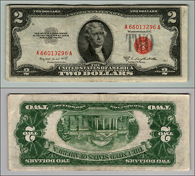 1953B $2 Dollar Bill Old Us Note Legal Tender Paper Money Currency Red Seal P695