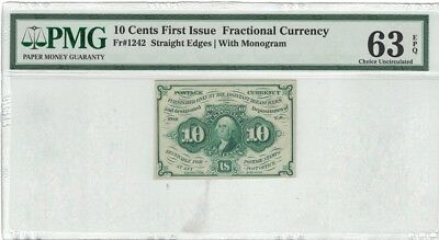 """US 10c Fractional Currency 1st Issue w/ """"ABC"""" FR 1242 PMG 63 EPQ"""