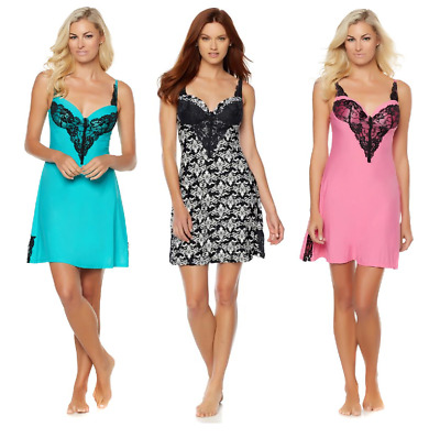 Rhonda Shear Molded Cup Solid Chemise with Lace Detail (HSN 561-462)