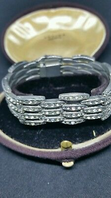 VINTAGE ART DECO DRGM GORGEOUS CLEAR PASTE SILVER COCKTAIL BRACELET c1920