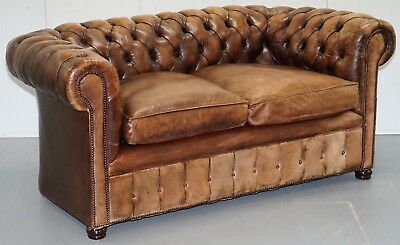 Very Rare Vintage 1920's Hand Dyed Aged Brown Leather Chesterfield Club Sofa