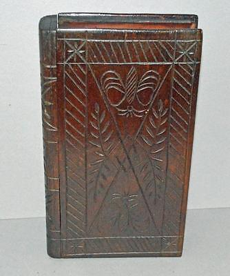 Old Carved Hardwood Safe - Moneybox - Hideaway - In The Form Of A Book.