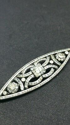 VINTAGE ART DECO JEWELLERY GORGEOUS CLEAR PASTE SILVER METAL BROOCH c1920