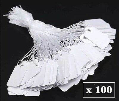 100x Small White Kraft Paper Price Labels Tags with String 25mm*15mm Jewellery