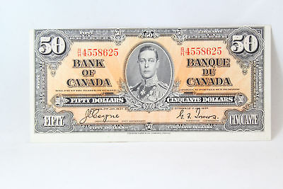 Canada 1937 $50 Fifty Dollar Bank Note Bc-26c Coyne Towers AU