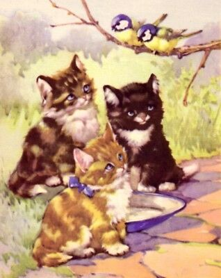 CAT Kittens Watch Songbirds 70-yr-old CHILDRENs Print