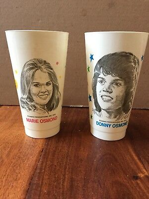 Vintage-Donny & Marie Osmond Plastic Cups-OSBRO PRODUCTIONS, INC 1976