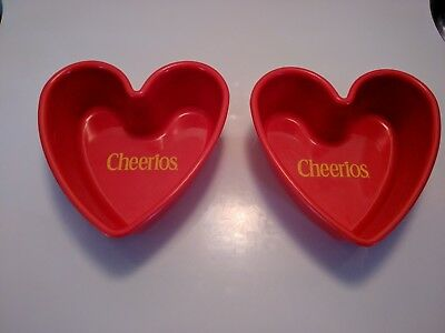 Pair Of General Mills Red Heart Shaped Cheerios Bowls