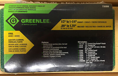 "Greenlee 735BB 1/2""-1 1/4"" Standard Round Manual Knockout Punch Kit 19973 NEW!!"