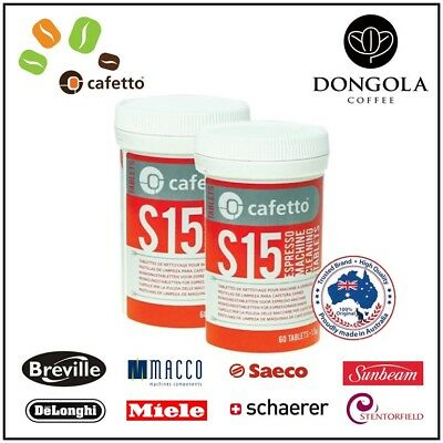 2PK CAFETTO S15 60x Automatic Espresso Coffee Machine Cleaning Tablets Cleaner