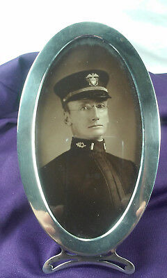 Antique Sterling Silver Picture Frame With Wwi Naval Officer Picture