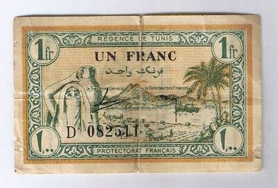 1943 Tunisia 1 Franc North Africa Note bill World War Two WWII Relic P. 55