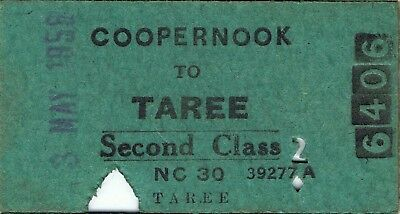 Railway ticket a trip from Coopernook to Taree by the old NSWGR in 1958