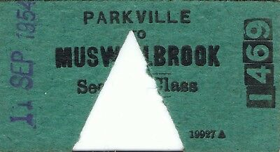 Railway ticket a trip from Parkville to Muswellbrook by the old NSWGR in 1954