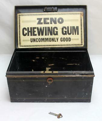 Antique Pre 1910 Wrigley Zeno Chewing Gum Store Counter Tin Box with Key