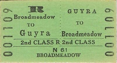 Railway ticket a trip from Guyra to Broadmeadow by the old NSWGR