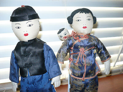 Vintage Handmade Oriental Doll Family With Baby in Sling Backpack