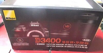 Nikon D D3400 24.2MP Digital SLR Camera - Black (Kit w/ AF-P DX 18-55mm and 70-3