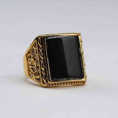 Chinese Exquisite Gilt Brass Inlaid Obsidian Handwork National Fashion Ring G582
