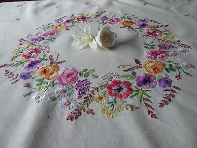 Vintage Hand Embroidered  Tablecloth= Exquisite Circle Of Embroidered Flowers