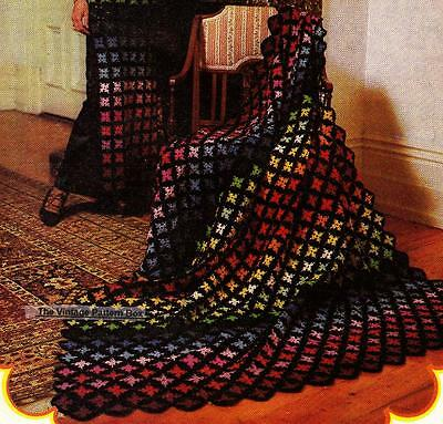 FLORAL SQUARE MOTIF RUG / THROW - 8ply or D.K.- COPY Afghan crochet pattern
