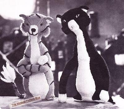 """COOL CATS - 16"""" height / 8ply or D.K.- COPY toy knitting pattern"""
