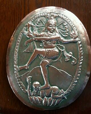 Lord Shiva - Hindu God Of Creation Old Copper Wall Plaque