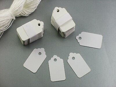 100 Small White BLANK Strung Scallop Top Merchandise Inventory Jewelry Tags