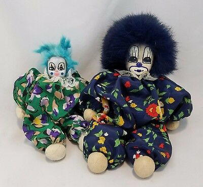 2 Old Clown Dolls Fur Hair Sand Body Hand Painted Face Cute Creepy Mardi Gras