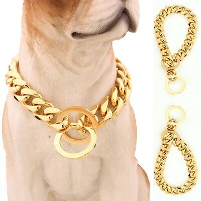15mm Pet Collar Big Gold Plated Curb Link 316L Stainless Steel Dog Chain12-34''