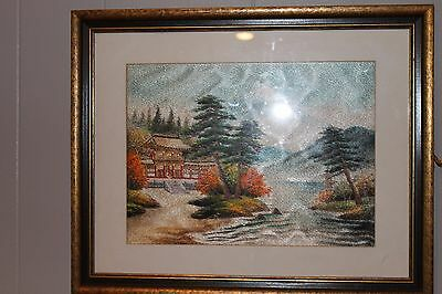 Vintage Japanese Silk Embroidery Needlepoint Color Mt Fuji Landscape Framed 9x12