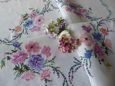 Vintage Hand Embroidered Linen Tablecloth= Fabulous Raised Embroidery