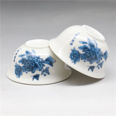 2 Pcs Chinese porcelain flowers Gongfu Sample Tea cups
