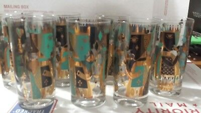 Signed Georges Briard Highball Glasses *it's In The Cards*  Set Of 7
