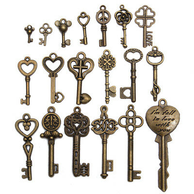 19Pcs Antique Old Look Skeleton Key Set Lot Pendant Heart Bow Lock Steampunk